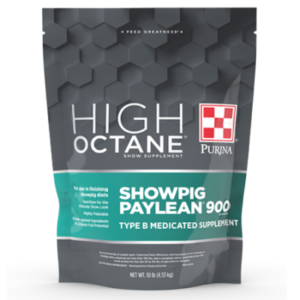 Purina High Octane Showpig Paylean 900 Medicated Supplement. 10-lb grey and teal pouch.
