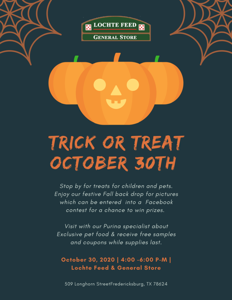 Treats at Locthe Feed Store October 30th