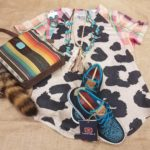 layout of shirt, purse and more